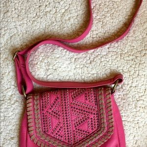 Leather shoulder bag with studs